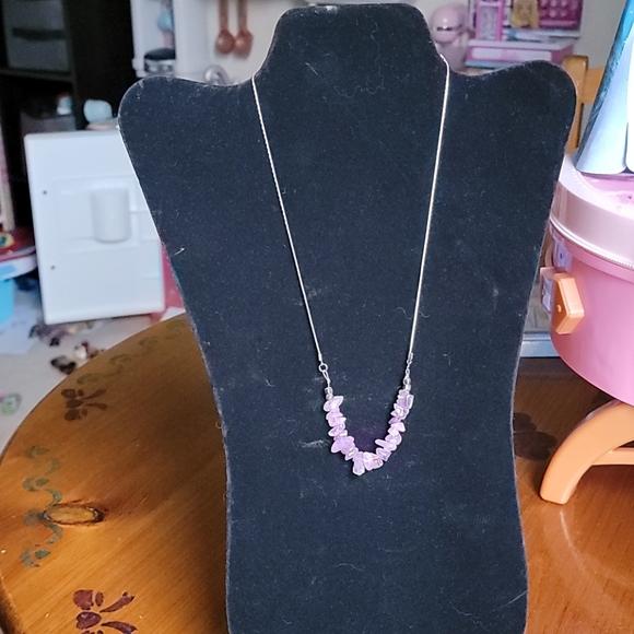Faux amethyst necklace